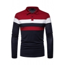 Mens Leisure Colorblocked Stripe Splicing Long Sleeve Button Placket Slim Polo Shirt