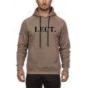 Mens Simple LECT Letter Print Long Sleeve Fitted Drawstring Hoodie