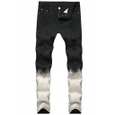Mens Creative Ombre Color Zipper Fly Straight Jeans Black Denim Trousers