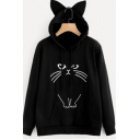Womens Simple Cartoon Cat Ear Long Sleeve Loose Pullover Hoodie