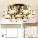 Drum Living Room Flushmount Light Contemporary Crystal 3/5/6 Lights Black Ceiling Lighting