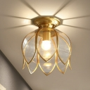Flower Corridor Flush Mount Light Colonial Clear Curved Glass 1 Bulb Brass Close to Ceiling Lamp