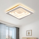 Metallic Layered Square Ceiling Light Minimal LED White Flush Mount Lamp in Warm/White Light/Remote Control Stepless Dimming
