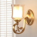 1/2-Head Bell Wall Lamp Vintage Style Amber Glass Wall Sconce Light in Brass for Living Room