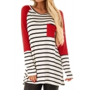 Womens Casual Stripe Color Block Chest Pocket Long Sleeves Round Neck Tunic T-Shirt