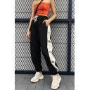 Sport Black Elastic Waist Drawstring Letter DRUNK Contrasted Cuffed Ankle Oversize Sweatpants for Female