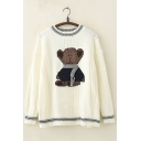Cute Bear Embroidery Stripe Trim Round Neck Long Sleeves Oversized Knitted Sweater
