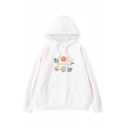 Womens Simple Cartoon Flower Printed Long Sleeve Pouch Pocket Baggy Pullover Hoodie
