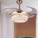 Modern LED Ceiling Fan Light Gold Beaded Semi Flush Mount Light with Crystal Block, Frequency Conversion/Wall Control/Remote Control