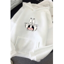 Unisex Fancy Cartoon Printed Long Sleeve Pouch Pocket Oversized Hoodie