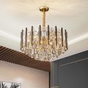 Round Faceted Crystal Chandelier Light Fixture Contemporary 7 Heads Gold Hanging Light Kit