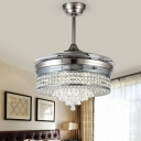 LED Bedroom Ceiling Fan Lamp Silver Semi Mount Lighting with Drum Crystal Shade, Wall/Remote Control/Frequency Conversion