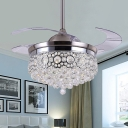 Crystal Ball Cascade Semi Flush Light Fixture Modern LED Silver Ceiling Fan Lamp for Living Room, Wall/Remote Control/Frequency Conversion