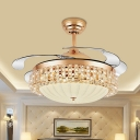 Dome Ceiling Fan Lighting Modernism Frosted Glass LED Gold Semi Flush Mount, Wall/Remote Control/Frequency Conversion
