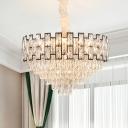 Nickel Tapered Chandelier Lighting Modernism 6/10 Heads Faceted Crystal Block Hanging Lamp Kit, 16