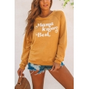 Fancy Letter MAMA KNOWS BEST Printed Yellow Long Sleeve Pullover Sweatshirt for Women
