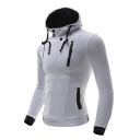 Mens Simple Casual Plain Long Sleeve Side Zip Slim Fitted Sports Pullover Hoodie