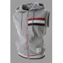 Mens Simple Stripe Printed Sleeveless Zip Up Casual Sports Drawstring Hooded Vest Hoodie