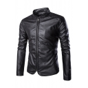 Mens Casual Solid Color Long Sleeve High Collar Zip Up Slim Fit Leisure PU Jacket