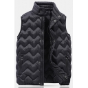 Mens Popular Solid Color Black Sleeveless High Collar Button Front Quilted Down Vest Coat
