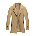Mens Loose Solid Color Long Sleeve Notched Collar Button Down Trench Coat with Pocket