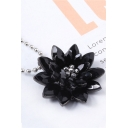 Womens Popular Black Dahlia Crystal Pendant Necklace for Gift