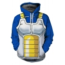 3D Muscle Pattern Comic Cosplay Costume Long Sleeve Blue Hoodie