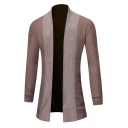 Mens Simple Color Block Long Sleeve Open Front Tunic Knitted Shawl Cardigan