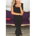 Plain Black Tied Straps Ruffle Trim Zip Back Midi Fishtail Evening Dress for Ladies