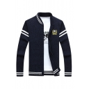 Popular Logo Print Long Sleeve Zip Up Ribbed Knit Fitted Varsity Jacket Casual Cardigan
