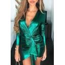 Womens Fashionable Plain Surplice V-Neck Long Sleeve Ruched Detail Mini Nightclub Dress
