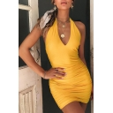 Womens Popular Solid Color Halter Neck Open Back Mini Nightclub Bandage Dress