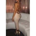 Womens Sexy Apricot Glitter Fashion V-Neck Cross Back Maxi Fitted Dress for Party