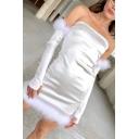 Womens Sexy Plain Metallic White Plush Trim Off the Shoulder Zipper Back Mini Party Dress