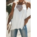 Chic Plain White Lace Patchwork Square Neck Spaghetti Straps Swing Tank Top for Women