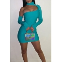 Ladies Sexy Cutout Long Sleeve High Neck Solid Color Mini Tight Dress for Night Club