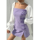 Retro Elegant Colorblock Puff Sleeve Purple Plaid Pattern Square Neck Side Frog Button Mini Dress