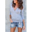 Womens Sexy Plain Long Sleeve V-Neck Tied Wrap Fitted T-Shirt