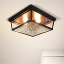 Black Squared Flush Light Fixture Industrial Stylish 2 Lights Frosted Glass Flushmount Lighting for Corridor