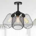 Cylinder/Lantern Ceiling Flush Mount Industrial Style Metal 3 Bulbs Black Semi Flush Ceiling Light with Mesh Screen
