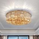 Crystal 4-Tier Round Flush Mount Simplicity 8/12-Light White Flushmount Ceiling Lamp for Living Room