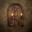 Birdcage Bedroom Wall Lamp Country Metal 2-Light Rust Sconce Light Fixture with Crystal Drop