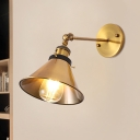Barn/Cone Shade Corridor Wall Lighting Metallic 1 Bulb Vintage Stylish Angel Adjustable Wall Sconce Lamp in Brass
