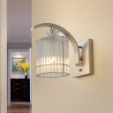 1 Head Cylindrical Wall Mounted Lamp with Clear Crystal Shade Modernist Wall Lighting in Gold