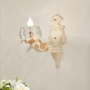 Carved Arm Wall Light Sconce with Clear Glass Bowl Lampshade Vintage 1/2 Bulbs Wall Mount Light in White