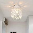 White/Black Domed Flush Mount Light with Crystal Bead Modernist Metal 1 Light Ceiling Flush Mount for Kitchen
