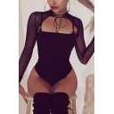 Sexy Girls Long Sleeve Choker Sheer Lace Up Hollow Out Fitted Tube Bodysuit for Night Club