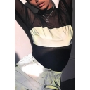 Girls' Cool Black&White Long Sleeve Mock Heck Mesh See-Through Reflective Fitted Bodysuit