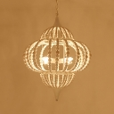 9 Lights Chandelier Pendant Cottage Lantern Shape White Wood Ceiling Light Fixture