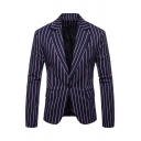 Mens Trendy Striped Printed Long Sleeve Single Button Leisure Fitted Blazer with Flap Pocket